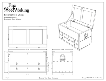 Sample page from a digital woodworking plan depicting a toolbox
